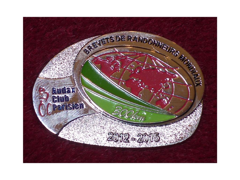 Medalha Audax Club Parisien BRM 300 km 2012-2015