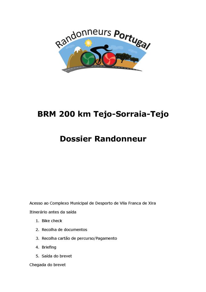 Capa Dossier Randonneur BRM 200 km Tejo-Sorraia-Tejo