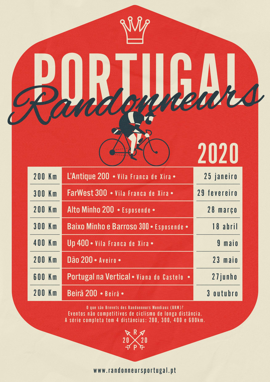 Calendário Brevets des Randonneurs Mondiaux | Portugal 2020