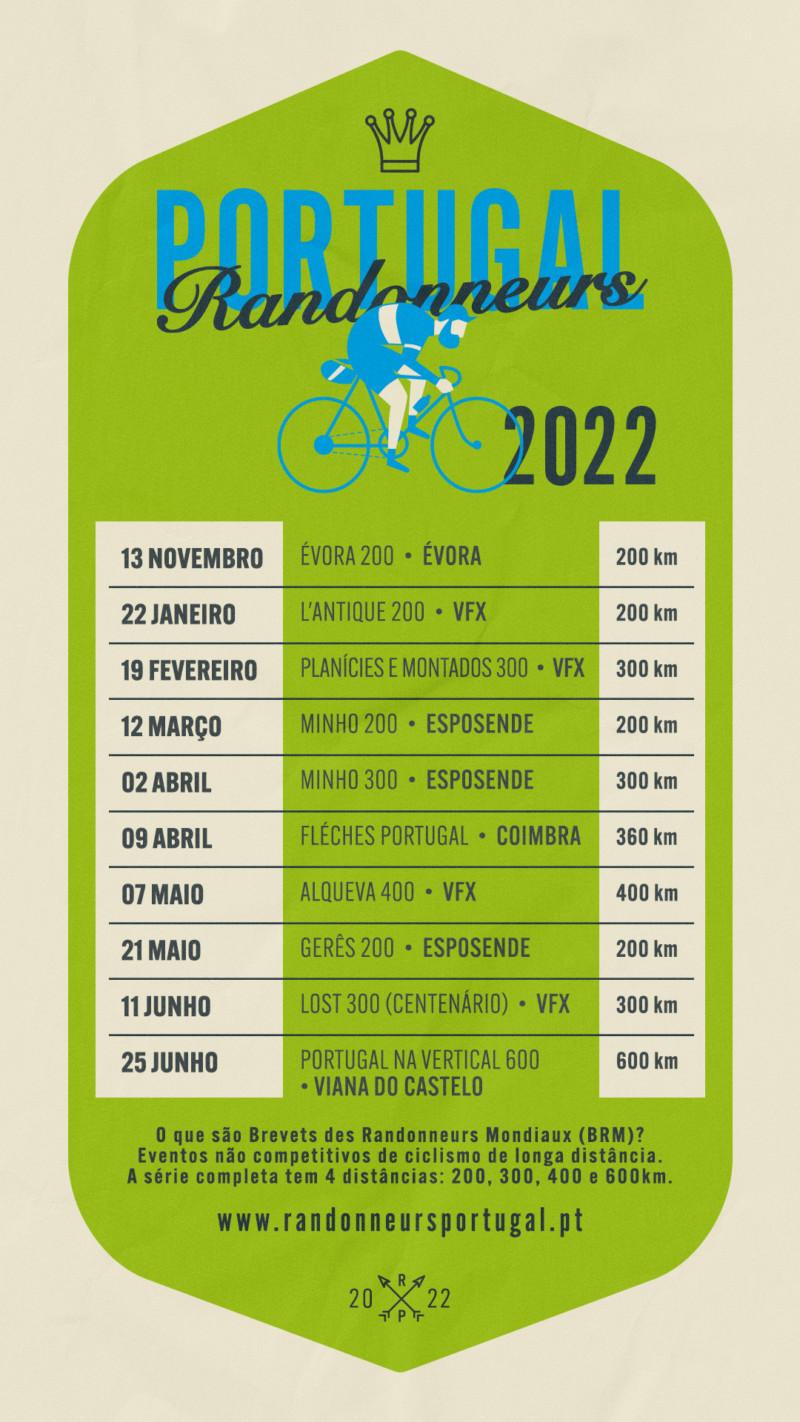 Calendario Randonneurs Portugal 2022